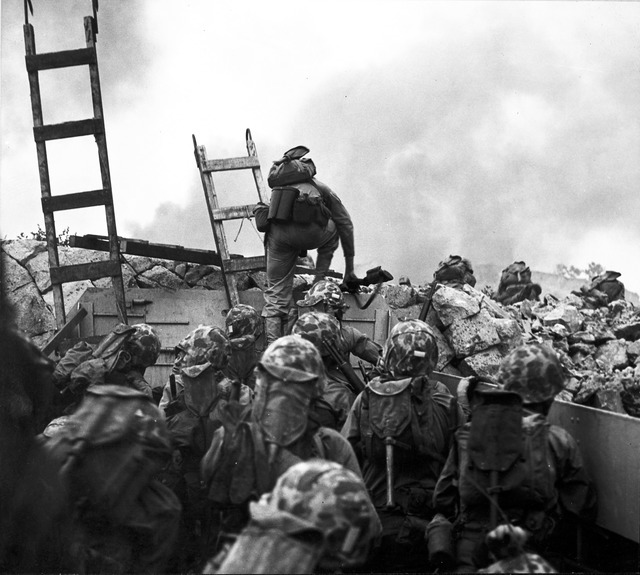 Leathernecks Use Scaling Ladders to Storm Ashore at Inchon in an Amphibious Invasion