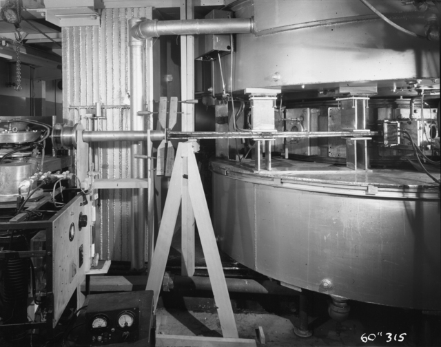"Los Alamos photographic plate scattering chamber, cyclotron snout. Photo taken 10/12/1950. 60""-316.  Principal Investigator/Project: Crocker Lab/60-inch"