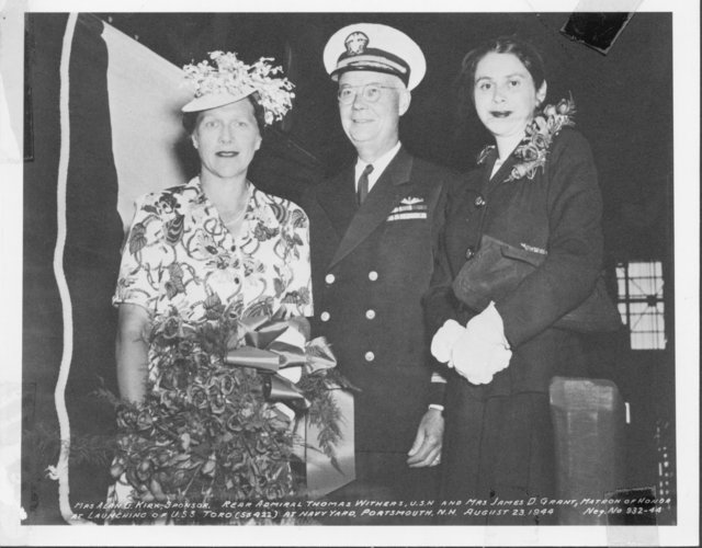 Mrs. Alan G. Kirk, Sponsor, Rear Admiral Thomas Withers, U.S. Navy, and Mrs. James D. Grant, Matron of Honor, at Launching of USS Toro (SS 422) at Navy Yard, Portsmouth, New Hampshire