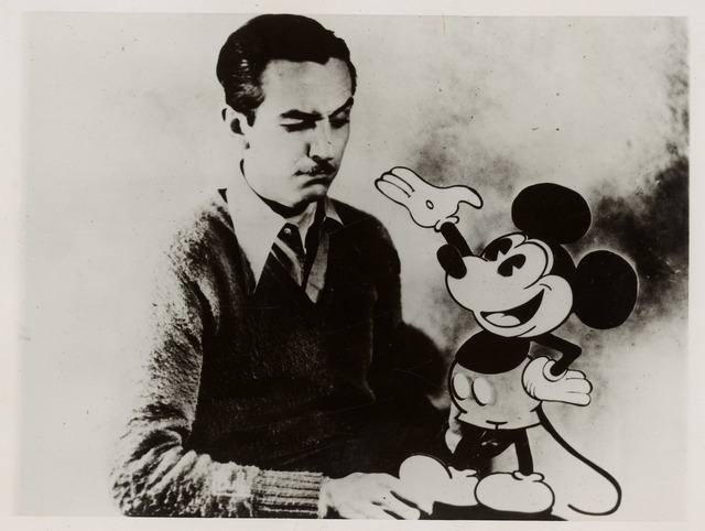 Photograph of Walt Disney with Mickey Mouse