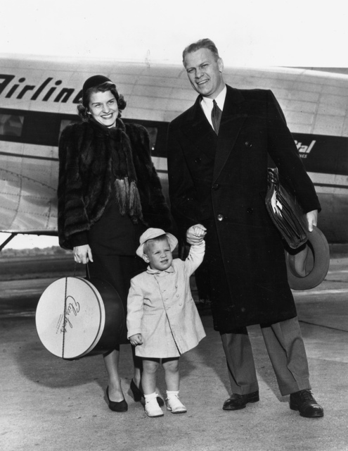 Photograph of Representative Gerald R. Ford with Mrs. Betty Ford and Son Michael at the Grand Rapids, Michigan Airport