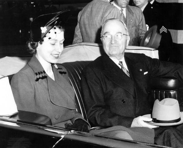 Photograph of President Harry S. Truman and England's Princess Elizabeth in Limousine