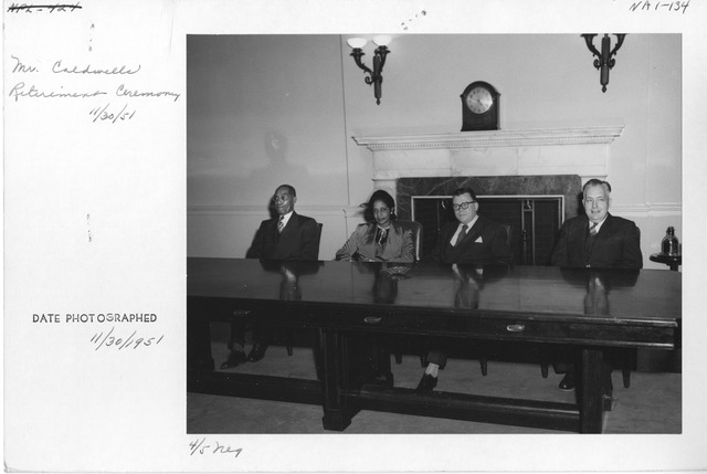Photograph of Mr. Hiram O. Caldwell (from War Records Branch) Retirement Ceremony