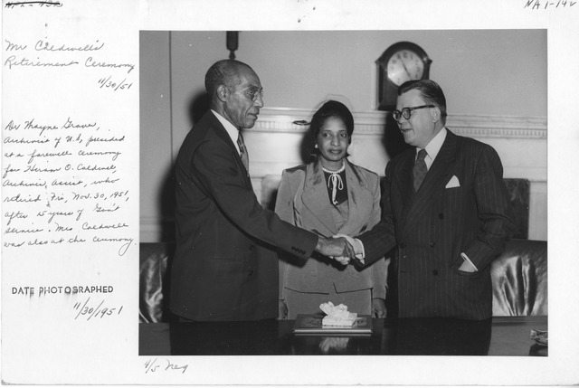 Photograph of Retirement Ceremony for Mr. Hiram O. Caldwell (War Records Branch)
