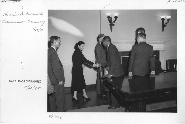 Photograph of Retirement Ceremony for Mr. Hiram O. Caldwell (War Records Branch).