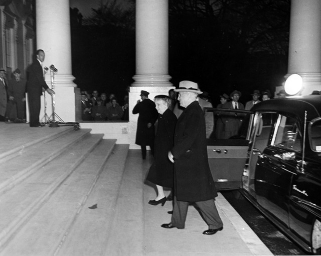 President Harry S. Truman and First Lady Bess Truman Returning to the White House after the Renovation