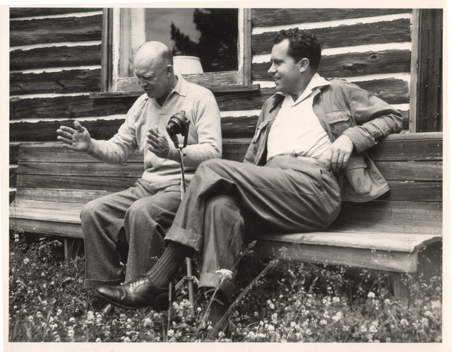 Future Presidents Dwight D. Eisenhower and Richard Nixon Enjoying a Chat in 1952