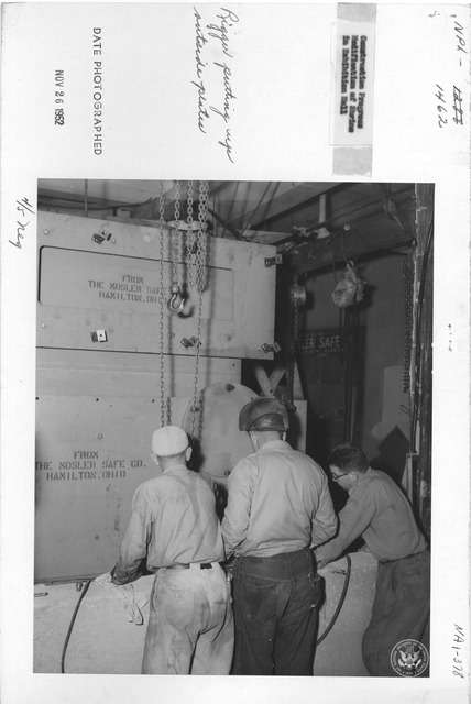 Photograph of Construction Progress Modification of Shrine in Exhibition hall, Rigger Putting up Outside Plates