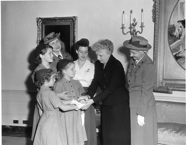 First Lady Bess W. Truman Receives Gift from Girl Scouts