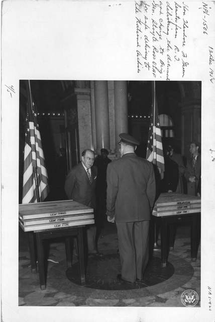 Photograph of Hon.. Theodore J. Green, Senator from Rhode Island Delivering the Documents and Charge to Brigadier General Stoyte Ross USAF for Safe Delivery to the National Archives