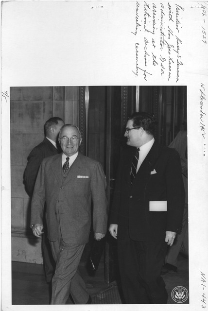 Photograph of President Harry S. Truman with Hon. Jess Larson, Administrator General Services Administration (GSA), Arriving at the National Archives for Unveiling Ceremony