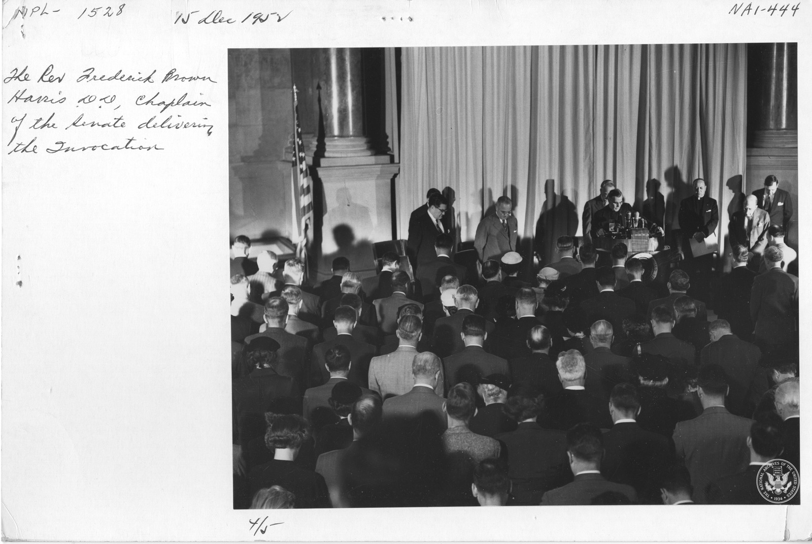 Photograph of Rev. Frederick Brown Harris, Chaplain of the Senate Delivering the Invocation