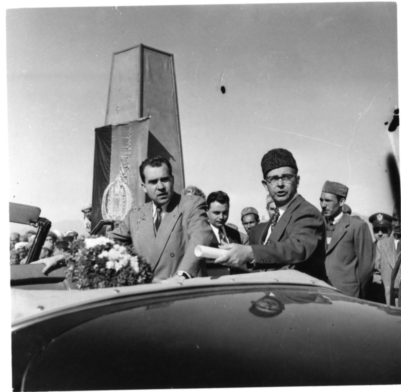 Vice President Richard Nixon enters an automobile in Afghanistan