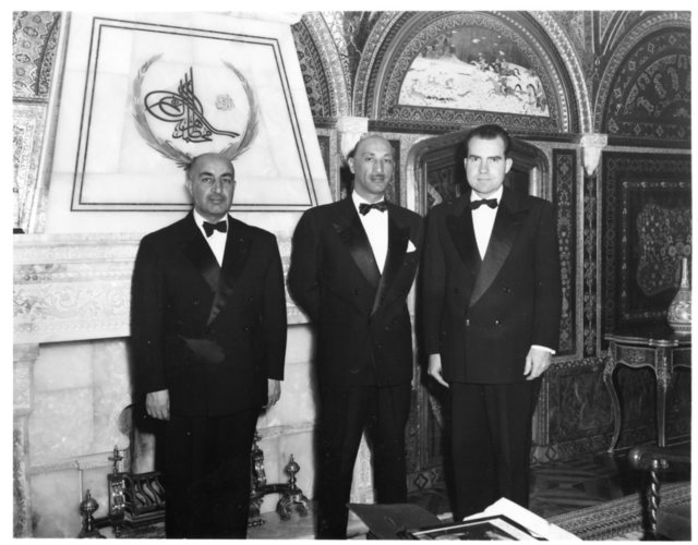 Vice President Richard Nixon stands with Shah Mohammed Zahir Shah in Afghanistan