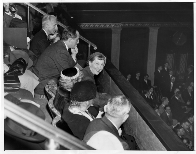 Mrs. Mamie Eisenhower Listens from a Box in the House Gallery as President Dwight D. Eisenhower Delivers the State of the Union Address