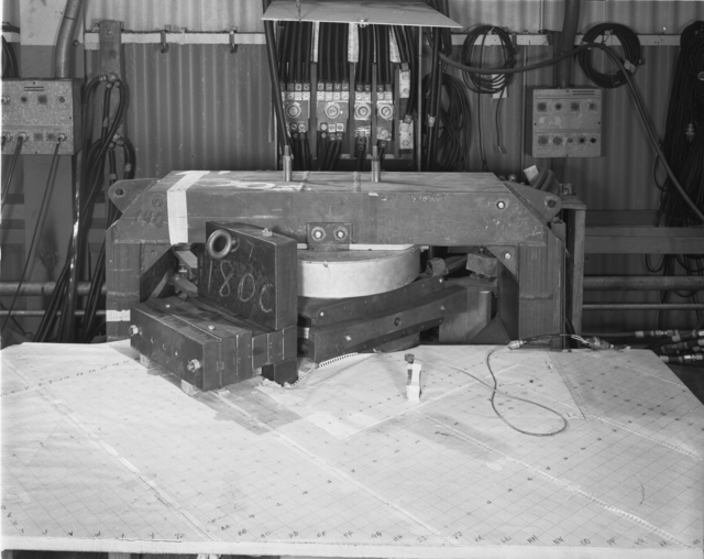 "184-inch cyclotron model magnet. Photo taken 8/31/1953. 184""-1142 Principal Investigator/Project: Analog Conversion Project"