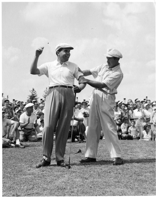 Richard Nixon plays golf with Bob Hope
