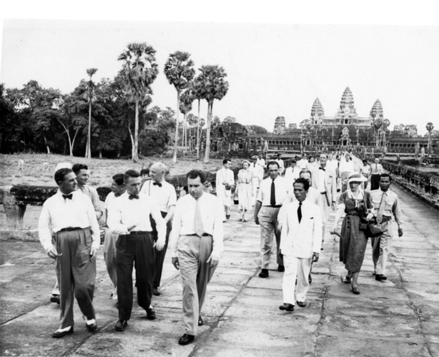 Vice President Richard Nixon, Rose Mary Woods, Christian Archibald Herter, and others visit Angkor Wat in Cambodia