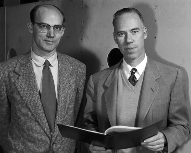 Ed Lofgren and Bill Brobeck taken January 28, 1954 at the Bevatron. Morgue 1954-8 (P-5) [Photographer: Donald Cooksey]