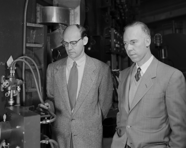 Ed Lofgren and Bill Brobeck taken January 28, 1954 at the Bevatron. Morgue 1954-8 (P-3) [Photographer: Donald Cooksey]