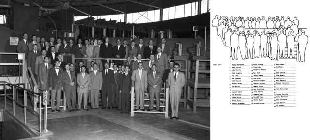 Group photo of all personnel who worked on the construction of the Bevatron with key to individuals. Significant ndividuals include: Bill Bigelow, Donald Cooksey,. Robert Richter, Edward Lofgren, Bill Salsig, Ken Mirk, Ernest Orlando Lawrence, Walt Hartsough, and others. Photo taken April, 1954. Morgue 1954-9 (P-4) [Photographer: Donald Cooksey]