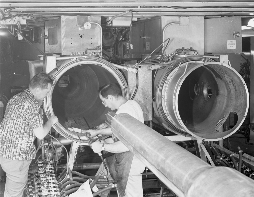 "Alteration to 60-inch cyclotron. Photo taken 5/03/1954. 60""-556. Principal Investigator/Project: Crocker Lab/60-inch"