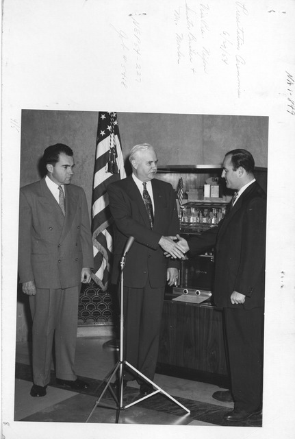 Photograph of Presentation Ceremonies, Mr. Mosler, Vice President Richard Nixon, and Senator Bricker