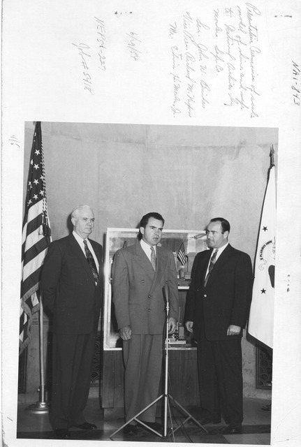 Photograph of Presentation Ceremonies of Scale Model of Shrine and Safe to National Archives by Mosler Safe Co., Senator John W. Bricker and Vice President Richard M. Nixon