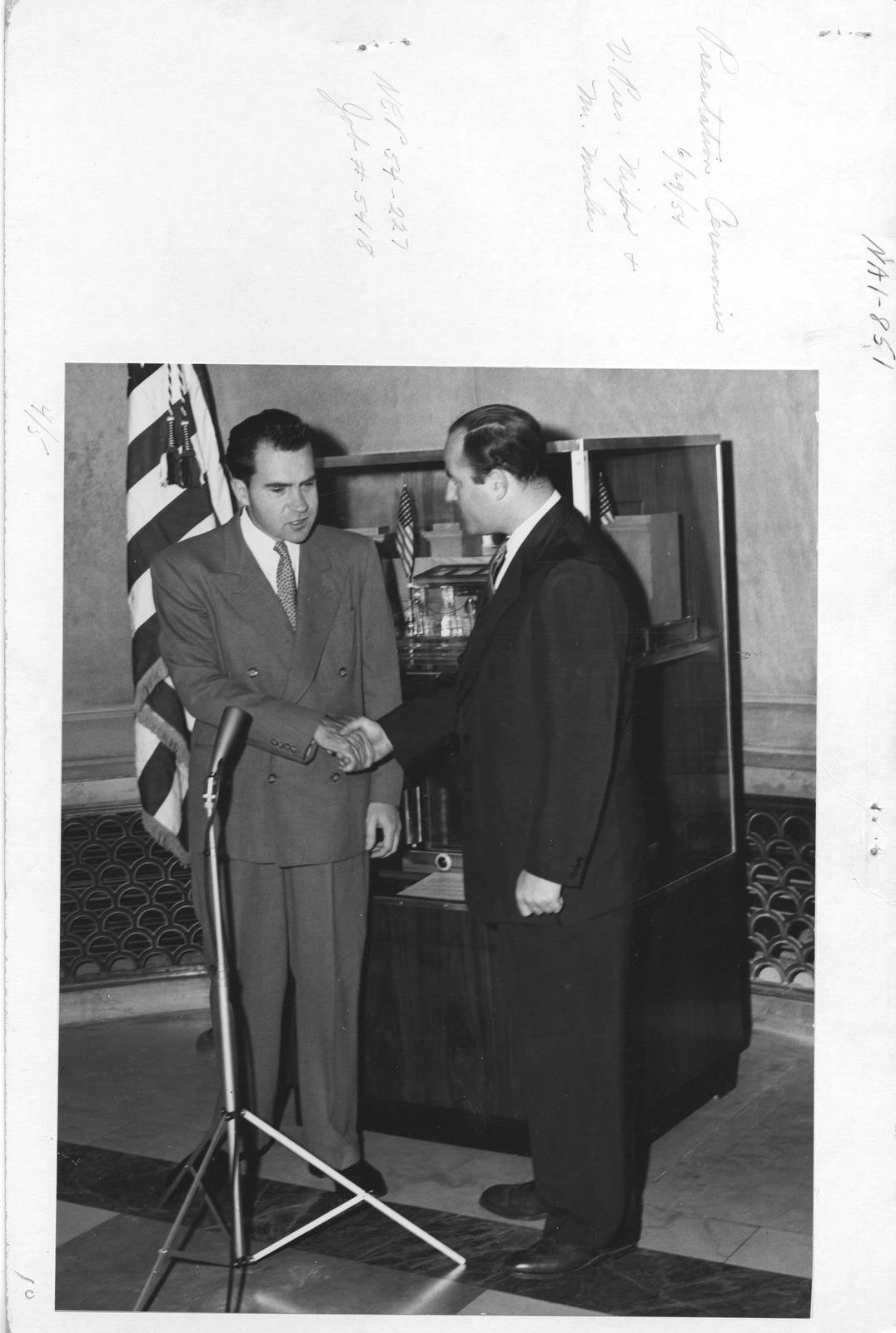 Photograph of Presentation Ceremonies, Vice President Richard Nixon and Mr. Mosler