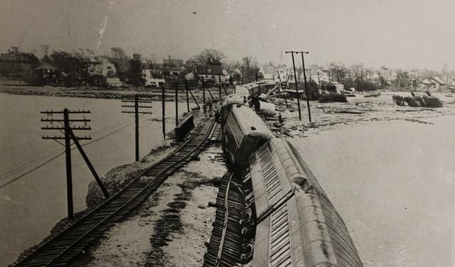 Derailed Passenger Train Bostonian in Stonington, Connecticut after Hurricane Carol