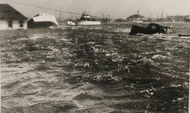 Galilee Harbor, Rhode Island during Hurricane Carol