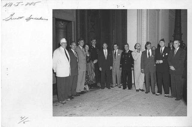 Photograph of Guest Speakers at the Ceremony Lighting the National Archives Building