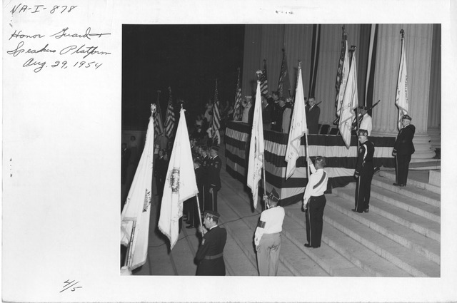 Photograph of Honor Guard on Speakers Platform, Ceremony Lighting the National Archives Building