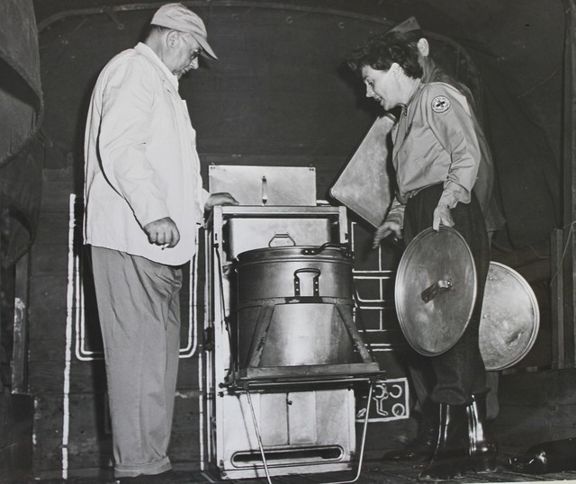 Inspecting a Portable Army Stove