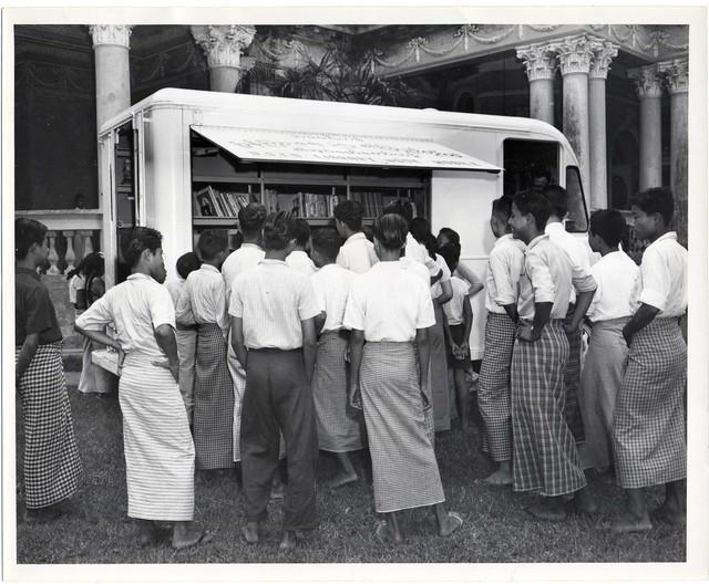 Children and Teachers at Bookmobile, Rangoon
