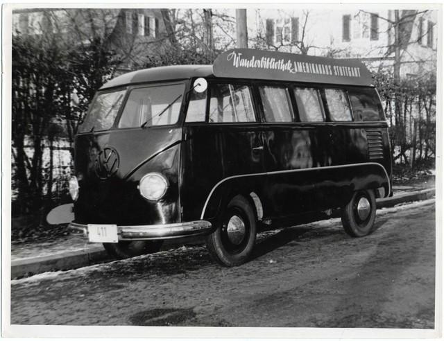 Volkswagen Bus Serves as Bookmobile, Stuttgart, Germany