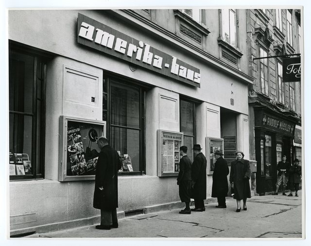 Window Displays of the New Amerika Haus Always Attract the Attention of the Passers-By