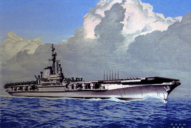 Original artwork by Hahn, USN - Water level starboard bow view of the attack aircraft carrier USS FRANKLIN D. ROOSEVELT (CVA-42) underway