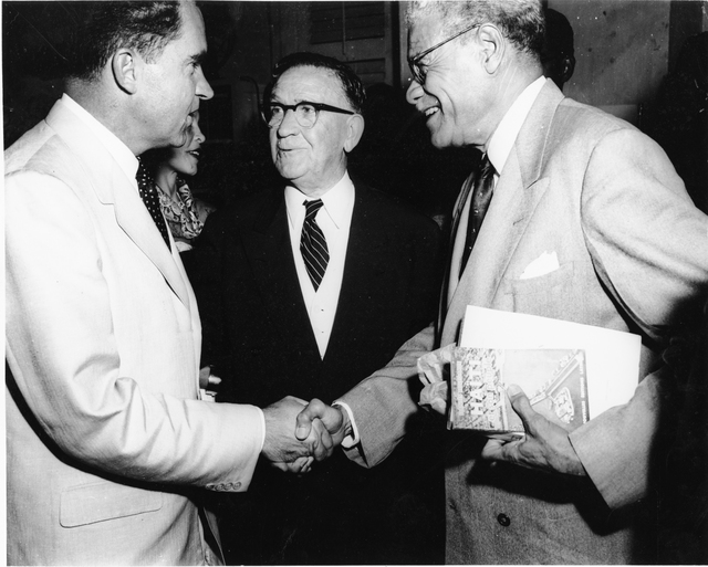 U.S. Ambassador to Haiti Roy Tasco Davis (Center) introduces Haitian diplomat Dr. Dantes Bellegarde, author and member of the Board of Directors at the Binational Center, to Vice President Richard Nixon in Port-au-Prince