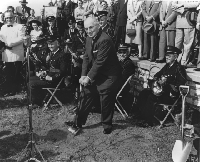 Harry S. Truman at Groundbreaking for Truman Library