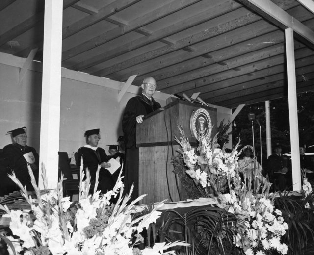 Dwight D. Eisenhower Delivers the Commencement Address at Pennsylvania State University in University Park, Pennsylvania