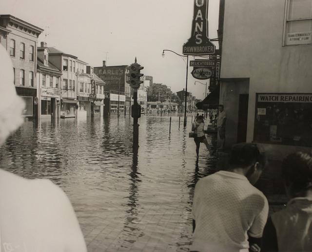 Flooding at Warren Street in Trenton, New Jersey during Hurricane Diane