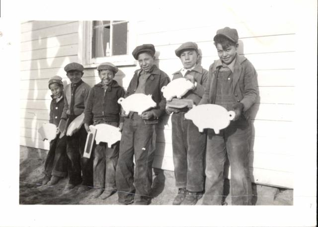 Boys with Bread Boards for Mother