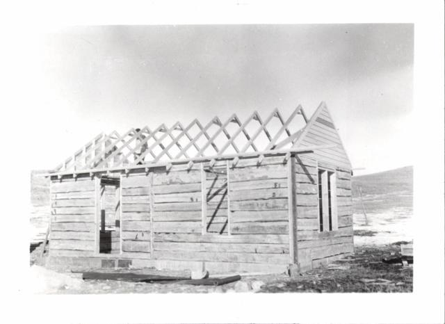Building (Log Cabin Getting New Roof)