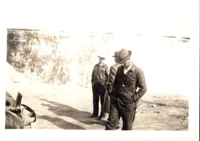 Foreman McDonald and Messrs. Arthur and Getty at Oglala Dam