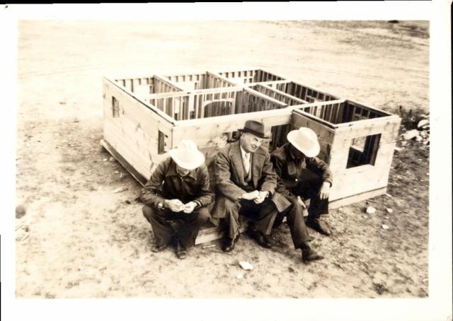 Messrs. Skaar, Arthur, and Getty with Model House