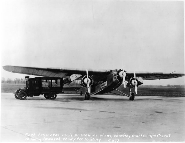 Photograph of a Ford Tri-Motor Passenger Plane with Mail Compartment in Wing
