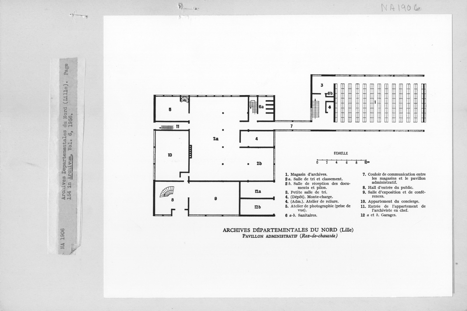 Photograph of a Drawing of the Floor Plan of Archives Departementales du Nord (Lille)