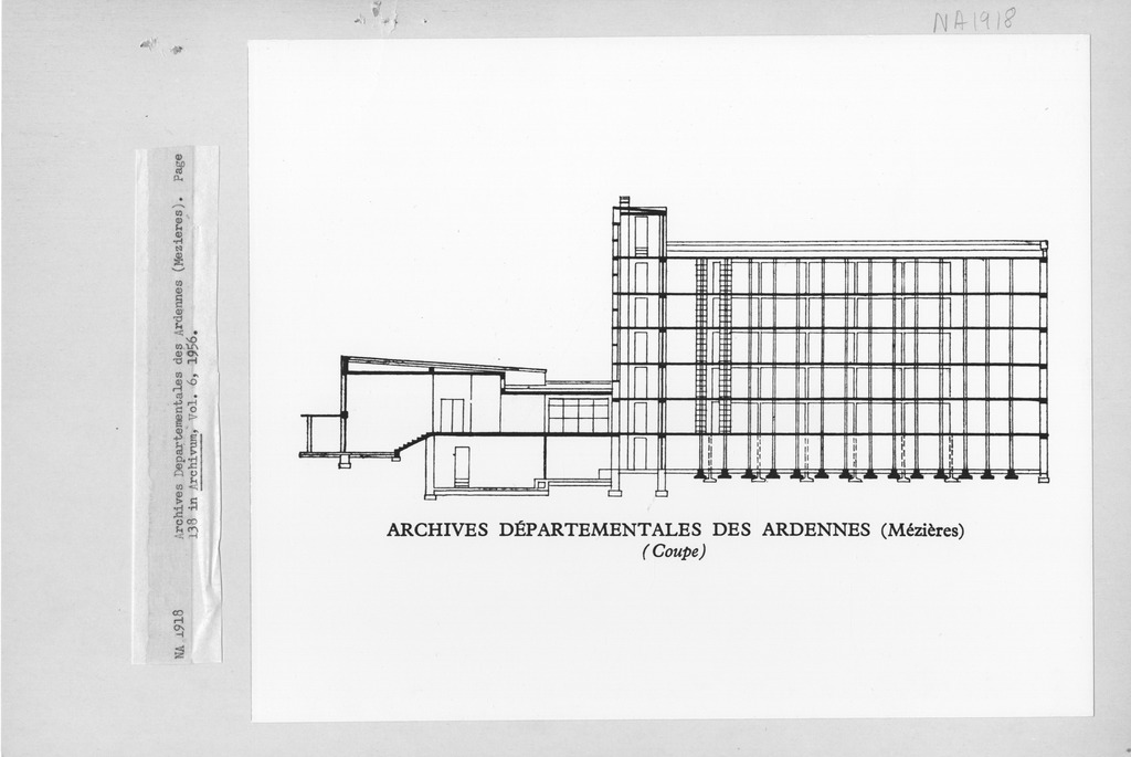 Photograph of a Floor Plan of the Archives Departementales des Ardennes (Mezieres)