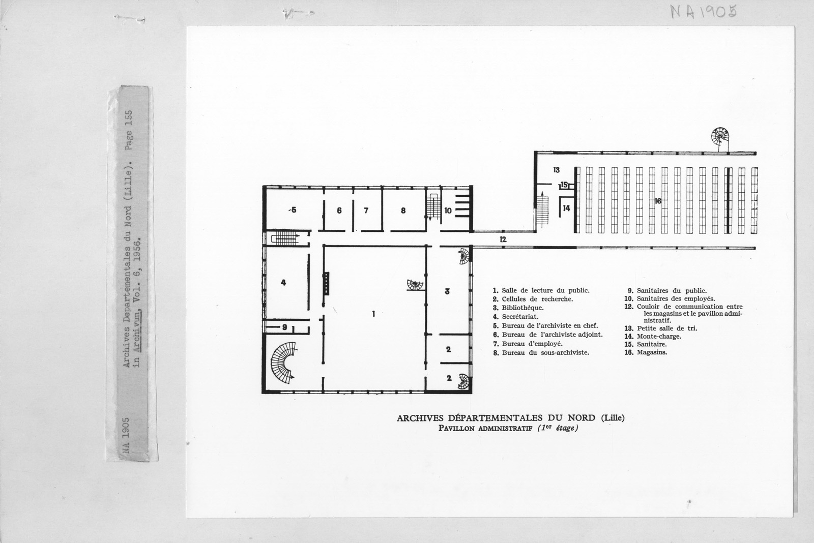 Photograph of Floor Plan of Archives Departementales du Nord (Lille